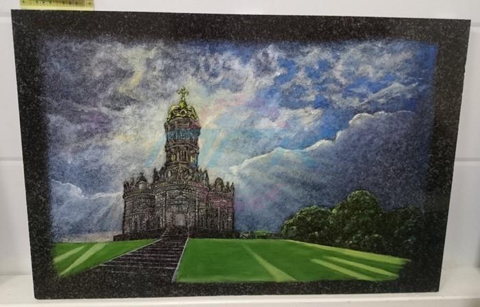 цветное изображение гравировки храма