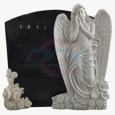 """Стела """"Ангел и цветы на граните с букетом"""""""