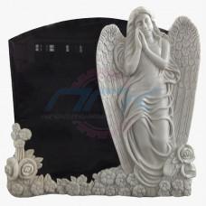 """Стела """"Ангел и цветы на гранитной плите"""""""