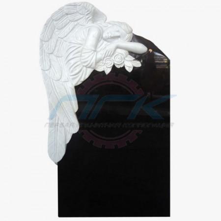 """Памятник из мрамора """"Ангел с розой на гранитной плите, большой"""""""
