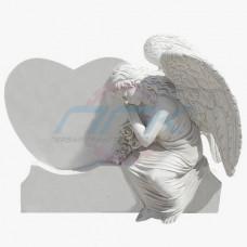 """Памятник из мрамора """"Ангел у надгробья в виде сердца"""""""